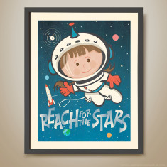 Reach for the stars retro kids' print