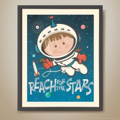Reach for the stars retro kids' print