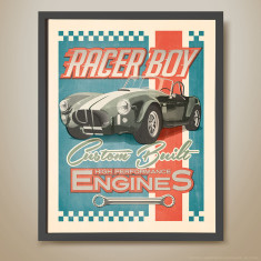 Racer boy retro kids' print