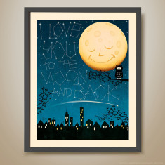 I love you to the moon and back night large retro kids print
