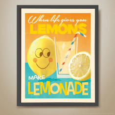 Lemons make lemonade retro kids' print