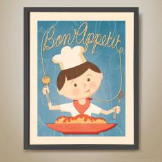 Bon appetit retro kids' print