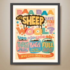 Baa baa black sheep retro-inspired kids' print