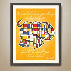 Mondrian elephant retro kids' print