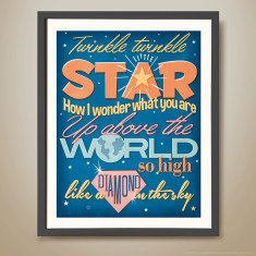 Twinkle twinkle little star retro kids' print