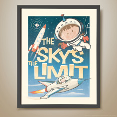 The sky's the limit retro kids' print