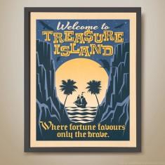 Welcome to Treasure Island retro kids' print