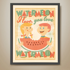 Watermelon retro kids' print