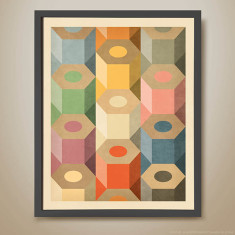 Coloured pencils geometric pattern print