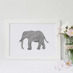 Elephant drawing print
