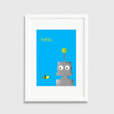 Male robot framed art print