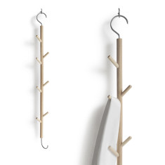 Wooden hanging hook rack