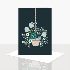 Hanging pot of flowers greeting card (pack of 8)
