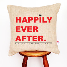 Happily ever after personalised linen cushion cover