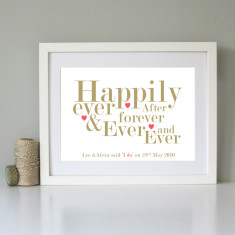 Personalised typography wedding day art print (2 colours)