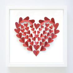 Hearts a flutter paper-cut frame