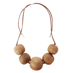 Natural wood imperfect bead necklace half