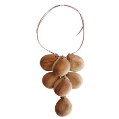 Natural wood pear drop necklace large