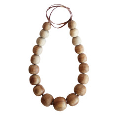 Natural wood imperfect bead necklace full