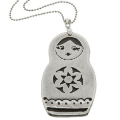 Babushka sterling silver doll necklace