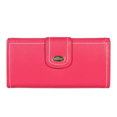 Harley large slim leather wallet in coral