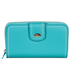 Harley large zip leather wallet in turquoise
