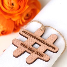 In your own words wooden hashtag wedding favours