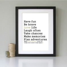 Have fun, be brave... inspirational art print
