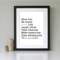 Have fun, be brave... inspirational art print