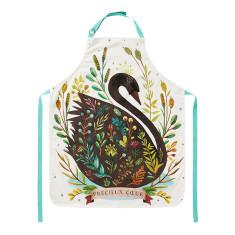 Black swan cotton apron