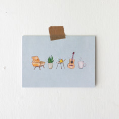 Pack of 4 Homebody Watercolour Illustration Greeting Cards
