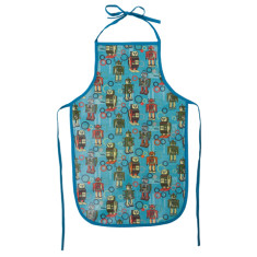 Kids Laminated Cotton Apron in Robot Print