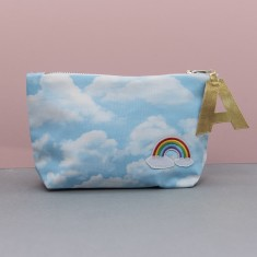 Rainbow and Clouds Make Up Bag Zip Pouch