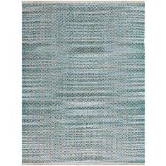 Aqua handmade flat weave rug
