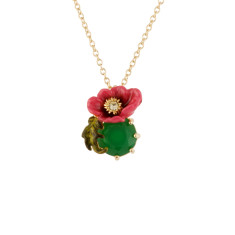 Pink Flower and Green Stone Necklace