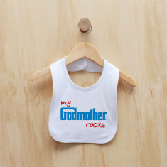 Personalised My godmother rocks bib (pink or blue)
