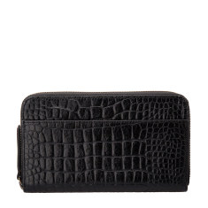 Delilah leather wallet in black croc