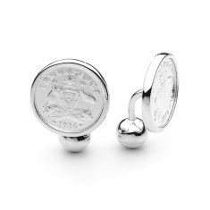 Shield design Australian threepence coin cufflinks