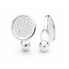Wheat design Australia threepence coin cufflinks