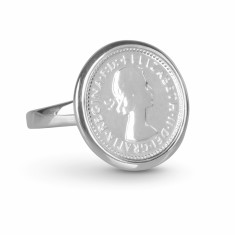 Queen Elizabeth II Threepence coin ring