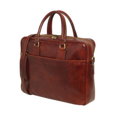 Tokyo leather messenger and laptop bag in brown