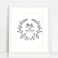 Personalised Botanical Vine Birth Print