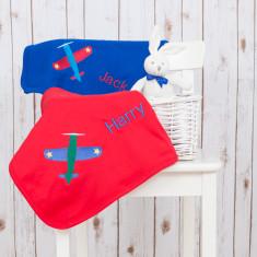 Personalised Baby Blanket with Retro Aeroplane