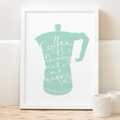 Typography Coffee Perculator Print