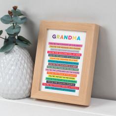 Grandma Poem In Freestanding Beech Frame