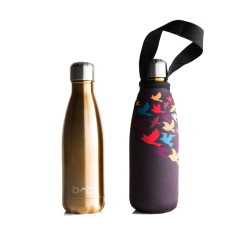 Stainless steel future bottle with carry cover in flock print (350ml)