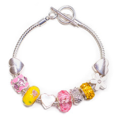 Charm bracelet with T bar clasp