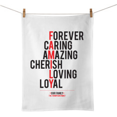 Family personalised typographic tea towel
