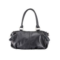 Black Leather Detroit Shoulder Bag