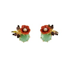 Orange Flower and Light Green Stone Earrings